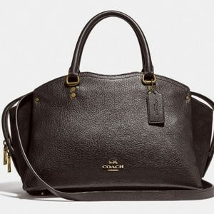 COACH Mixed Leather Drew Satchel Black-Gold 40862